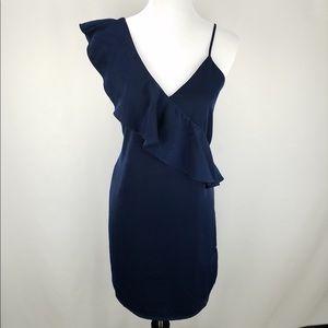 Stitch Fix One Shoulder Ruffle Navy Dress Size Sm